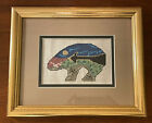 Counted Cross Stitch Bear with Landscape Finished Framed Piece 95 x 115