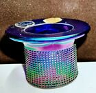 Vintage Imperial Glass Blue Carnival Glass Top Hat Toothpick Holder