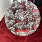 HUGE 475 LARGE CLEAR ART GLASS CONTROLLED BUBBLES ROUND PAPERWEIGHT 63