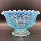 Vintage Smith Glass Moon and Stars Light Blue Opalescent Crest Footed Candy Bowl