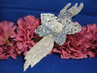 SILVER DESIGNER FLOWER SEQUIN BEADED APPLIQUE 1017 M