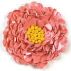 OLD FASHION PINK FLOWER SEQUIN BEADED APPLIQUE 2107 D