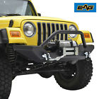 Black Textured Front Bumper W Winch PlateD rings for 87 06 Jeep Wrangler TJ YJ