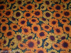 SPRING OR FALL HARVEST LARGE SUNFLOWER SUNFLOWERS PRINT 100 COTTON FABRIC yard