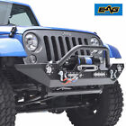 Rock Crawler Front Bumper Built in LED Light With Winch Plate for 07 16 Jeep JK