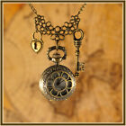 Vintage Antique Style Hearts/ Love Pocket Watch Necklace  with   Key 042