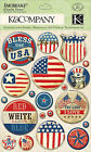 Americana Bless the USA Clearly Yours Epoxy Scrapbook Stickers K