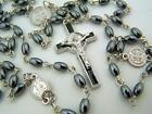 Mens 7MM Oval Hematite Bead Religious St Benedict Protection Daily Prayer Rosary