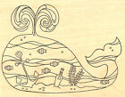BIG WHALE Beach Scene Wood Mounted Rubber Stamp Impression Obsession NEW