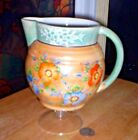 VINTAGE PEACH & BLUE LUSTERWARE PITCHER WITH HAND-PAINTED FLOWERS~MADE IN JAPAN
