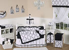 DISCOUNT LUXURY BOUTIQUE JOJO DESIGNS BLACK AND WHITE BABY GIRL CRIB BEDDING SET