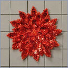 RED SEQUIN BEADED FLOWER APPLIQUE 2408 A
