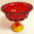 L.E. Smith Moon And Stars Ruby Red Amberina Glass Candy Dish Compote Fruit Bowl