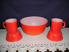 FIRE KING FIREKING ORANGE/RED MIXING BOWL WITH 2 STACKABLE MUGS AND CHILI BOWLS
