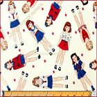 TIMELESS TREASURES STUDIO ANNA LENA PATRIOTIC GIRLS / DOLLS FABRIC BTY 36