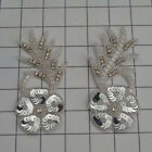 SEQUIN BEADED RHINESTONE FLOWER PAIR APPLIQUES 2467 O