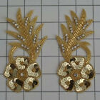 SEQUIN BEADED RHINESTONE FLOWER PAIR APPLIQUES 2468 O