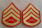 VIETNAM WAR ERA USMC STAFF SGT DRESS BLUE PAIR YELLOW CHEVRONS ON RED WOOL