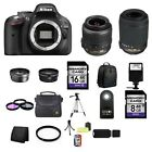 Nikon D5200 241 MP Digital SLR Camera Black w 4 Lenses 24GB
