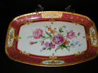 Pirken Hammer Platter Oblong with Deep Pink Border Floral Center Gold Trim