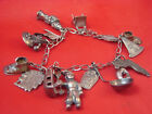 ANTIQUE SOLID STERLING CHARM BRACELET 15 CHARMS NATIVE AMERICAN AND MORE