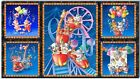 SSI Royal Blue Fabric Circus Animal Critter Carnival 5 Picture Panel 22.5