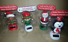 New Solar Powered Dancing SANTA,REINDEER,ELF & PENGUIN Heads Bobble Up & Down 2X