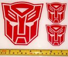 Transformers Autobot Set of 3 HQ Single Color Red Vinyl Sticker Decal em