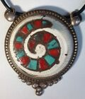 Vintage Tibetan Spiral Conch Shell Turquoise Red Coral Silver 925 Pendant