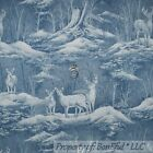 BonEful Fabric FQ Cotton Quilt Blue Gray Scenic DEER BUCK Hunt Tree Woods Forest