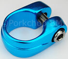 Old school Suntour style BMX bicycle seat clamp 286mm 1 1 8 BLUE ANODIZED