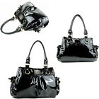 Gorgeous Ladies Hobo Shiny Faux PU Leather Tote Black Patent Shoulder JS Handbag