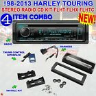98 2013 HARLEY TOURING STEREO RADIO CD INSTALL ADAPTER DASH KIT FLHT FLHX FLHTC