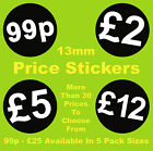13mm Black Retail Price Stickers Sticky Labels Ideal For Jewellery etc.