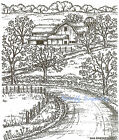 Country Farmhouse Barn  Road Wood Mounted Rubber Stamp Northwoods New P9113