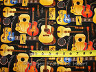 Music Folk Rock N Roll Guitar Shop Notes BY YARDS Michael Miller Cotton Fabric