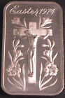 EASTER 1974 JESUS CHRIST NAILED ON FLOWERED CROSS CRUCIFICTION SILVER BAR REV 5