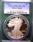 1986 S PCGS PR 67 Deep Cameo Proof Silver American Eagle Dollar