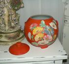 Vintage RANSBURG Hand Painted INDIANAPOLIS USA Footed Cookie Jar - Repaired