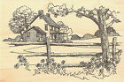 Country House Scene Wood Mounted Rubber Stamp IMPRESSION OBSESSION NEW F1730