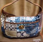 Rare COACH Denim Indigo Patchwork Applique Flower Ergo Hobo Bag Purse $428