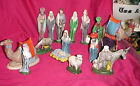 Vtg Lot 15 Byron Molds Ceramic Christmas Hand Painted Nativity Figurine 1973 Set