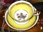 PARAGON PURPLE VIOLETS GOLD GILT BRIGHT YELLOW SQUARE TEA CUP AND SAUCER