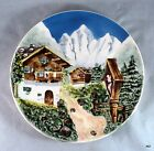 Vintage Majolica Decorative Plate W Germany Alps Mountain Chalet - Estate Find
