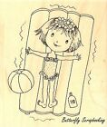 Beach Girl Gertrude Wood Mounted Rubber Stamp IMPRESSION OBSESSION NEW E11111