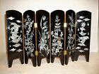 Vintage Chinese Folding Screen BLACK Lacquer INLAID Mother Of Pearl KOI 17.25