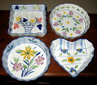 4 DECORATIVE HAND PAINTED PORCELAIN SOUFFLE FLAN DISHES