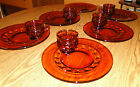 Vintage Amber Kings Crown Thumbprint INDIANA Glass snack/luncheon plate/cups (2)