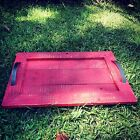 Large Reclaimed Pallet Wood Wine Serving Ottoman Tray (Red)