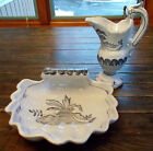 LOT 2 SHELL SHAPED HAND PAINTED BOWL & PITCHER PORTUGAL AUTHORIZED SIGNED COPY